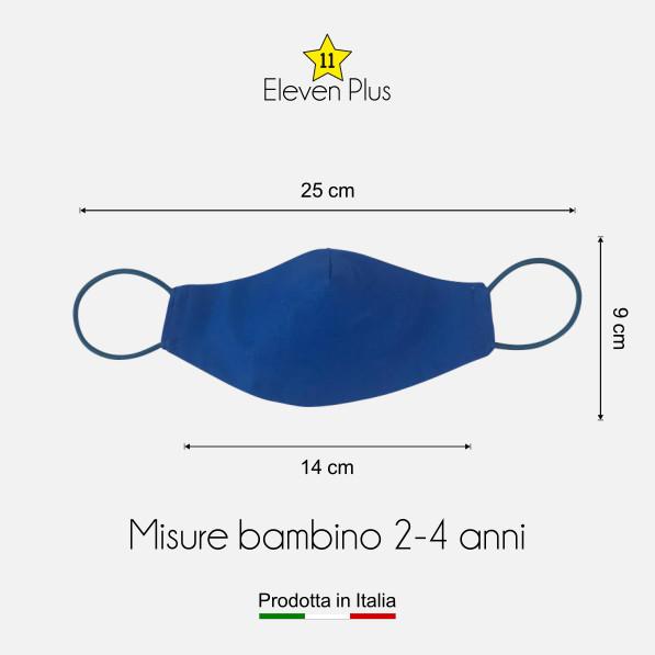 Mascherina idrorepellente, lavabile e riutilizzabile colore bluette per bambino 2-4 anni