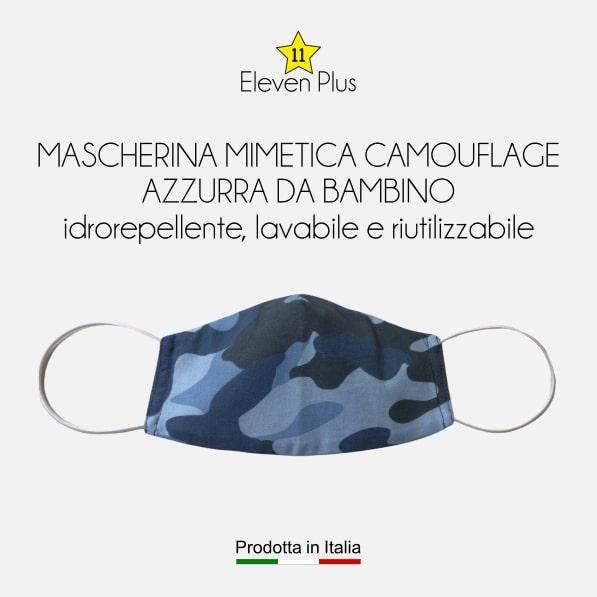 Mascherina idrorepellente, lavabile e riutilizzabile mimetica camouflage azzurra da bambino