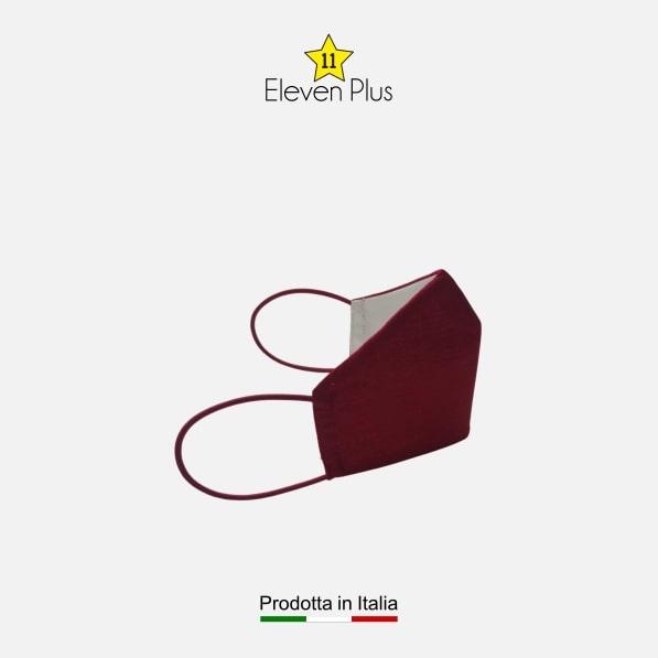 Mascherina idrorepellente, lavabile e riutilizzabile tinta unita rossa da bambino