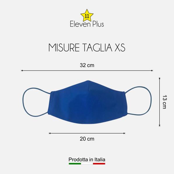 Mascherina idrorepellente, lavabile riutilizzabile colore bluette taglia XS