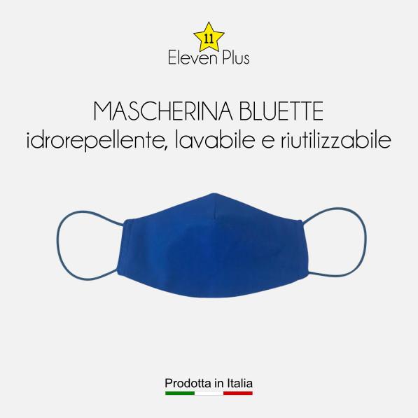 Mascherina idrorepellente, lavabile riutilizzabile colore bluette
