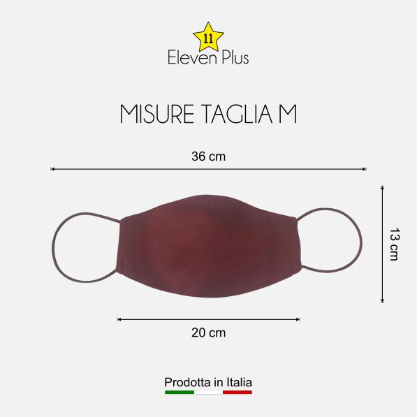 Mascherina idrorepellente, lavabile riutilizzabile colore bordeaux taglia M