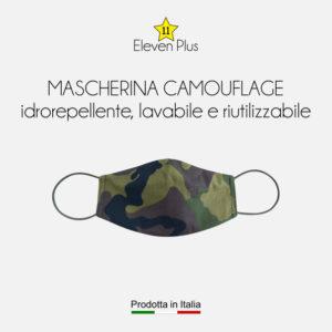 Mascherina idrorepellente, lavabile riutilizzabile mimetica camouflage