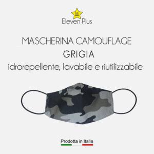 mascherina idrorepellente lavabile riutilizzabile mimetica camouflage GRIGIA