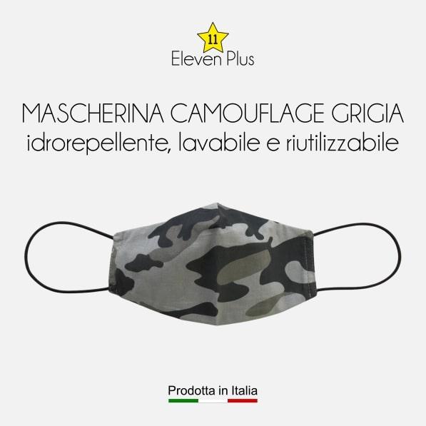 Mascherina idrorepellente, lavabile e riutilizzabile mimetica camouflage grigia