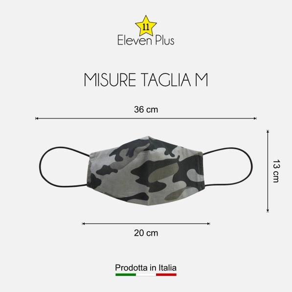 Mascherina idrorepellente, lavabile e riutilizzabile mimetica camouflage grigia taglia M