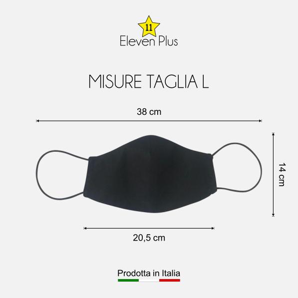 Mascherina idrorepellente, lavabile riutilizzabile colore nero taglia L