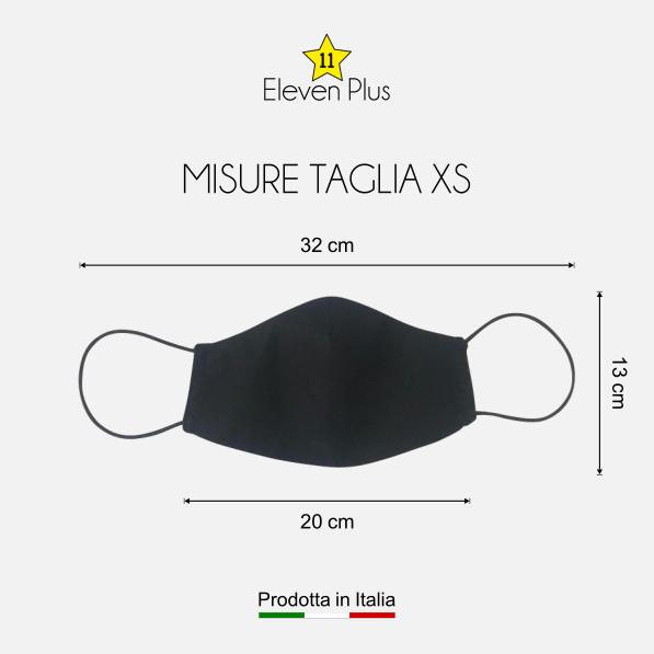 Mascherina idrorepellente, lavabile riutilizzabile colore nero taglia XS
