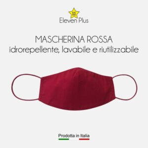 Mascherina idrorepellente, lavabile e riutilizzabile tinta unita rossa