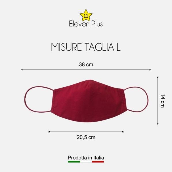 Mascherina idrorepellente, lavabile e riutilizzabile tinta unita rossa taglia L