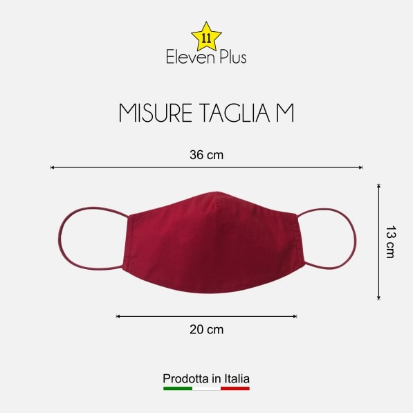 Mascherina idrorepellente, lavabile e riutilizzabile tinta unita rossa taglia M