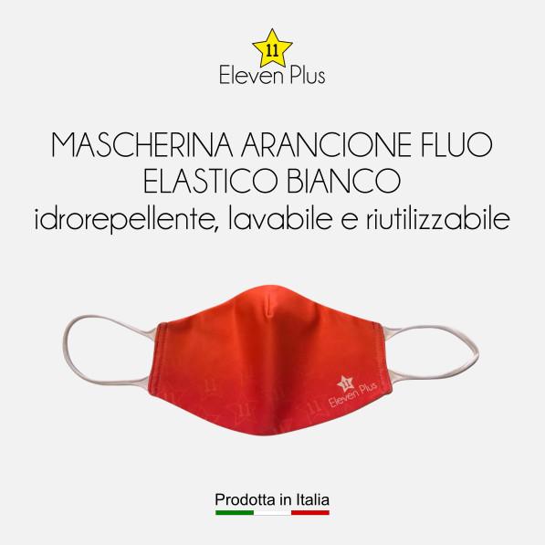 Mascherine idrorepellenti, lavabili e riutilizzabili colore arancione fluo con elastico bianco