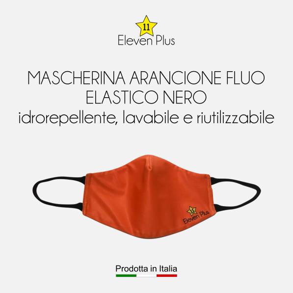 Mascherine idrorepellenti, lavabili e riutilizzabili colore arancione fluo con elastico nero