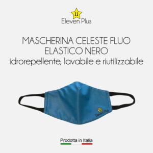 Mascherine idrorepellenti, lavabili e riutilizzabili colore celeste fluo con elastico nero