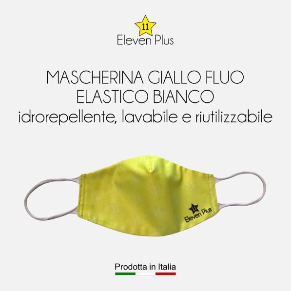 Mascherine idrorepellenti, lavabili e riutilizzabili colore giallo fluo con elastico bianco