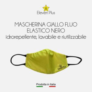 Mascherine idrorepellenti, lavabili e riutilizzabili colore giallo fluo con elastico nero