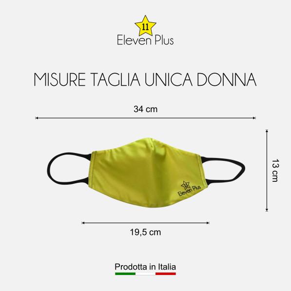 Mascherina idrorepellente, lavabile e riutilizzabile colore giallo fluo con elastico nero taglia unica donna