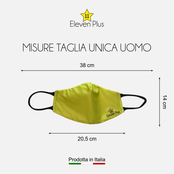 Mascherina idrorepellente, lavabile e riutilizzabile colore giallo fluo con elastico nero taglia unica uomo