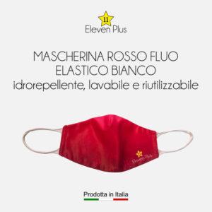 Mascherine idrorepellenti, lavabili e riutilizzabili colore rosso fluo con elastico bianco