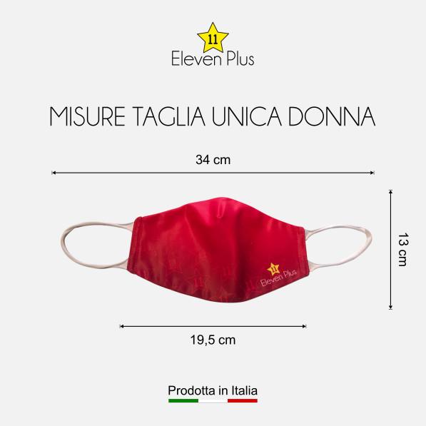 Mascherina idrorepellente, lavabile e riutilizzabile colore rosso fluo con elastico bianco taglia unica donna