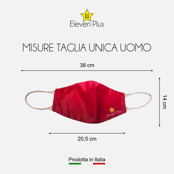 Mascherina idrorepellente, lavabile e riutilizzabile colore rosso fluo con elastico bianco taglia unica uomo