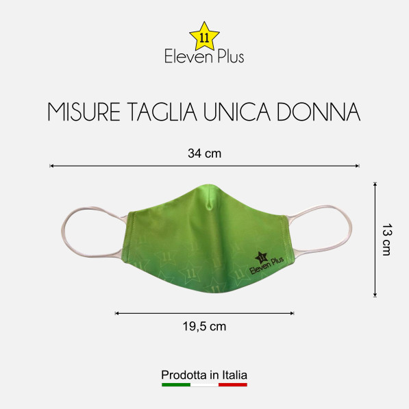 Mascherina idrorepellente, lavabile e riutilizzabile colore verde fluo con elastico bianco taglia unica donna