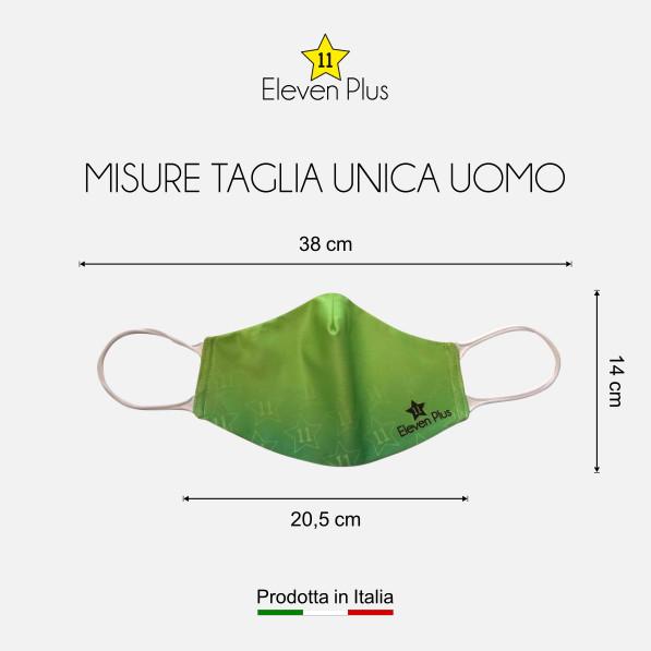 Mascherina idrorepellente, lavabile e riutilizzabile colore verde fluo con elastico bianco taglia unica uomo