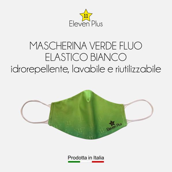 Mascherine idrorepellenti, lavabili e riutilizzabili colore verde fluo con elastico bianco