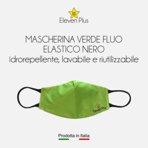 Mascherine idrorepellenti, lavabili e riutilizzabili colore verde fluo con elastico nero