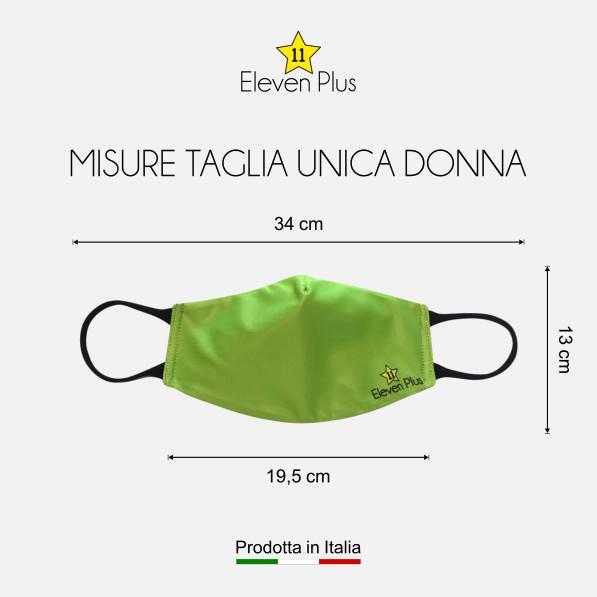 Mascherina idrorepellente, lavabile e riutilizzabile colore verde fluo con elastico nero taglia unica donna