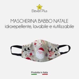 Mascherina idrorepellente, lavabile e riutilizzabile Natalizia con Babbo Natale