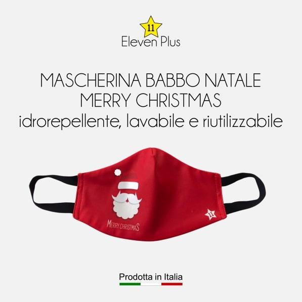 Mascherina idrorepellente, lavabile e riutilizzabile Natalizia con Babbo Natale e scritta Merry Christmas