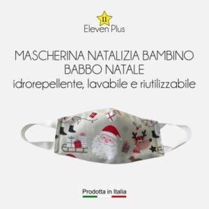 Mascherina idrorepellente, lavabile e riutilizzabile Natalizia per bambini con Babbo Natale