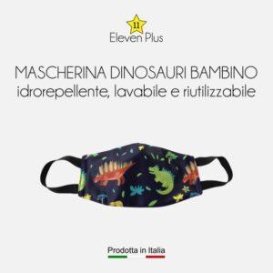 Mascherina idrorepellente, lavabile e riutilizzabile con fantasia dinosauri
