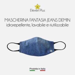 Mascherina idrorepellente, lavabile e riutilizzabile fantasia jeans demin da donna
