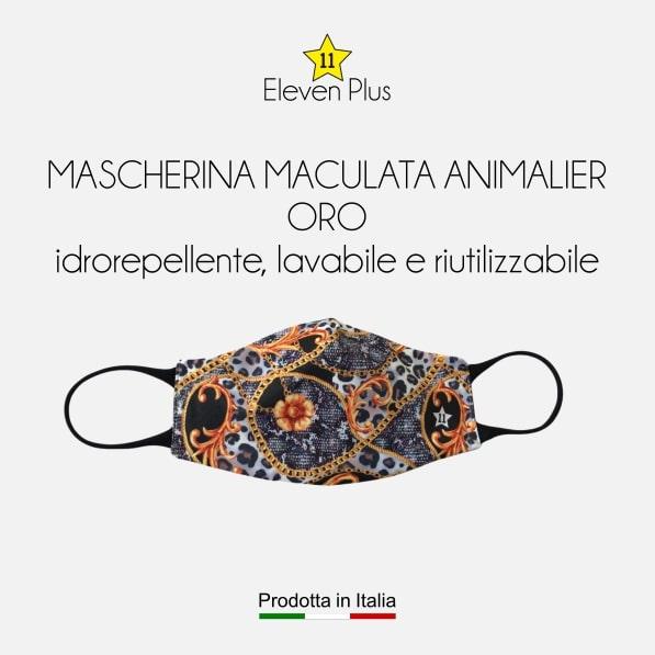 Mascherina idrorepellente, lavabile e riutilizzabile fantasia maculata animalier oro