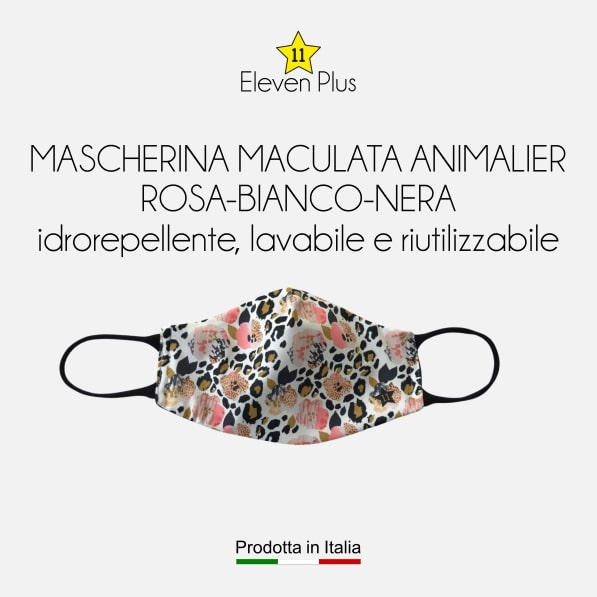 Mascherina idrorepellente, lavabile e riutilizzabile fantasia maculata animalier rosa-bianco-nera
