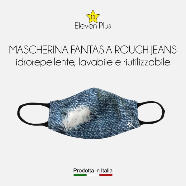 Mascherina idrorepellente, lavabile e riutilizzabile fantasia rough jeans da donna