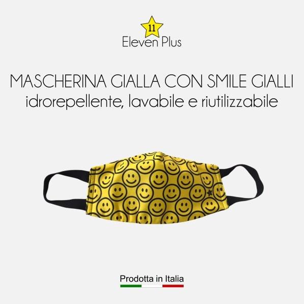 Mascherina idrorepellente, lavabile e riutilizzabile gialla con smile gialli