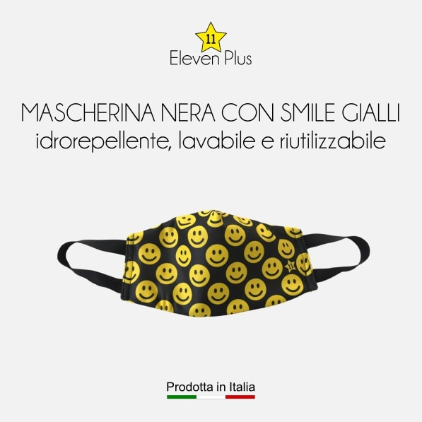 Mascherina idrorepellente, lavabile e riutilizzabile nera con smile gialli