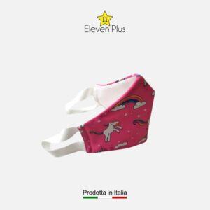 Mascherina idrorepellente, lavabile e riutilizzabile rosa con unicorni