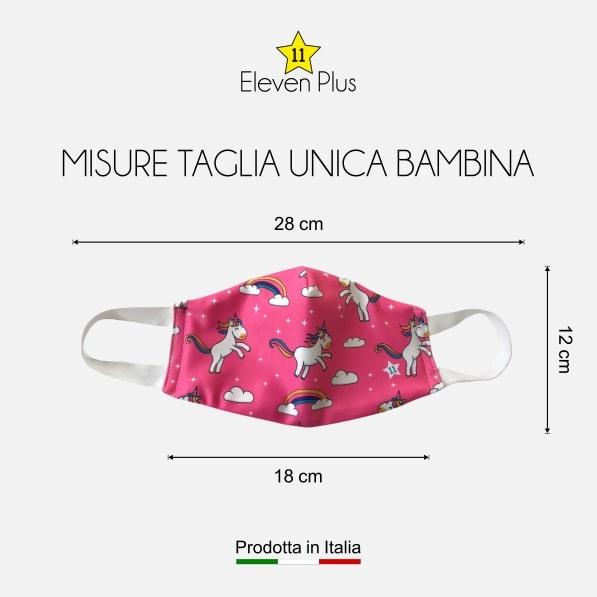Mascherina idrorepellente, lavabile e riutilizzabile rosa con unicorni taglia unica da bambina