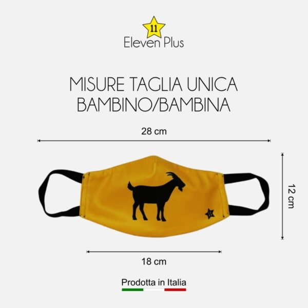 Mascherina con la capra per bambini: idrorepellente, lavabile e riutilizzabile taglia unica bambino/bambina