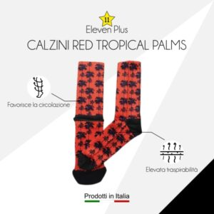Calzini red tropical palms